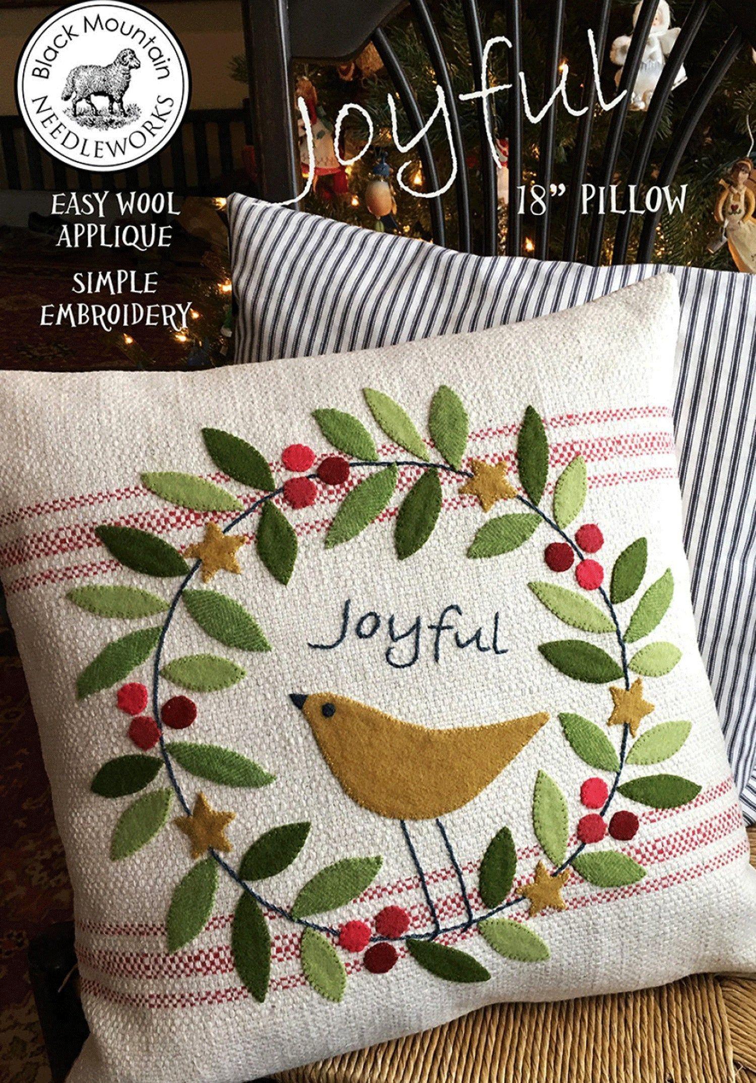 Joyful Pillow Pattern - Winter Season Pattern with Wool Applique - Christmas Pillow Pattern - BM 845