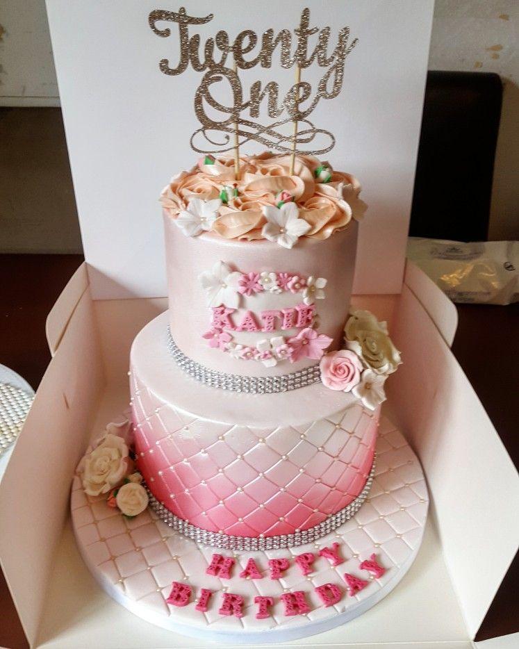 Pink Floral 21st Birthday Cake 21st Birthday Cake Cake 21st
