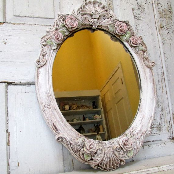 Distressed Home Decor: Large Oval Mirror Wall Hanging Shabby Cottage Chic