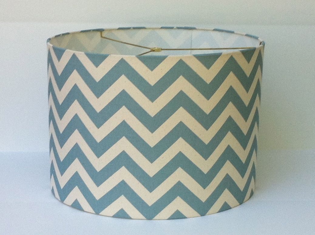 Drum Lamp Shade lampshade in blue and ivory chevron / zigzag print ...