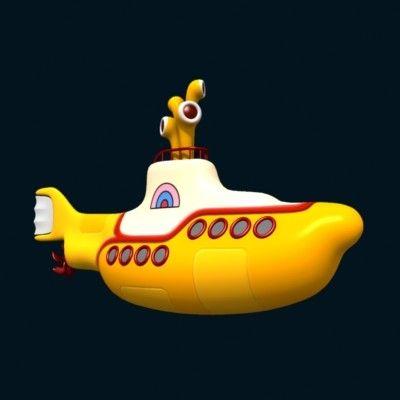 Yellow Submarine 3d Model 3d Model Yellow Submarine Submarine Beatles Artwork