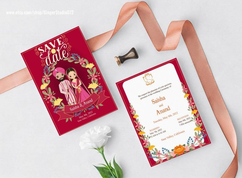 Cute Indian Wedding Save The Date Invitation Card Template Etsy Save The Date Invitations Wedding Saving Wedding Invitation Card Template
