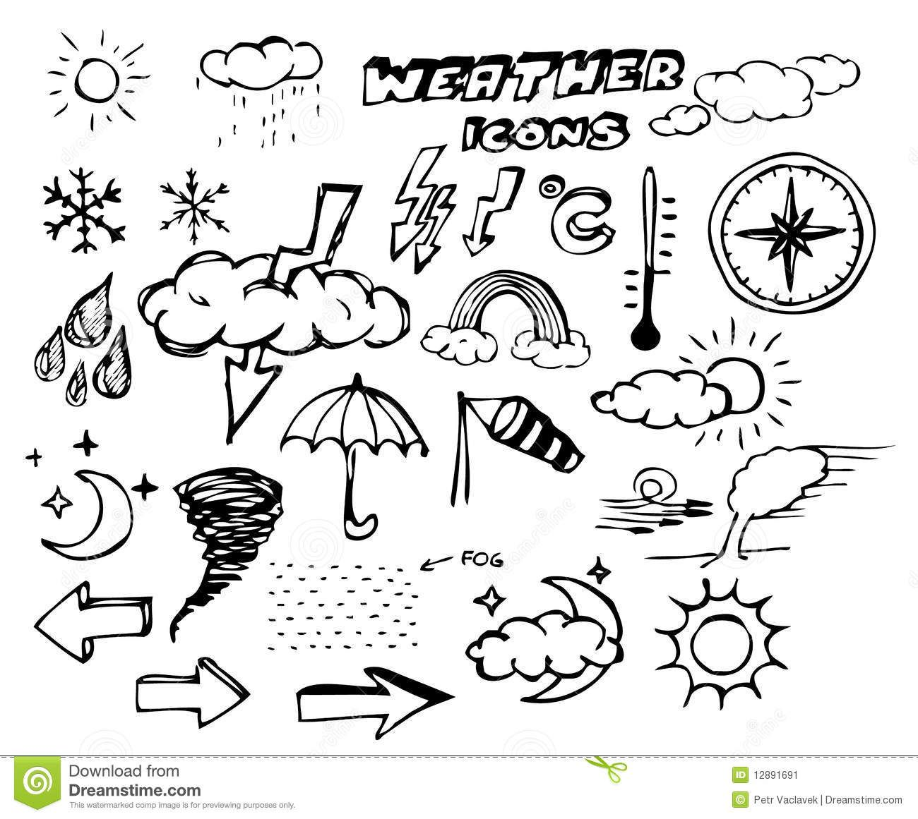 Set Of Weather Hand Drawing Icons Stock Image Image