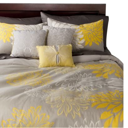 Anya 6 Piece Floral Print Duvet Cover Set - Gray/Yellow- A ... : yellow quilt cover - Adamdwight.com