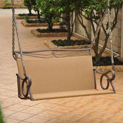 Hanging Swing: International Caravan 4 Ft. Valencia Resin Wicker Metal Frame  Hanging Loveseat