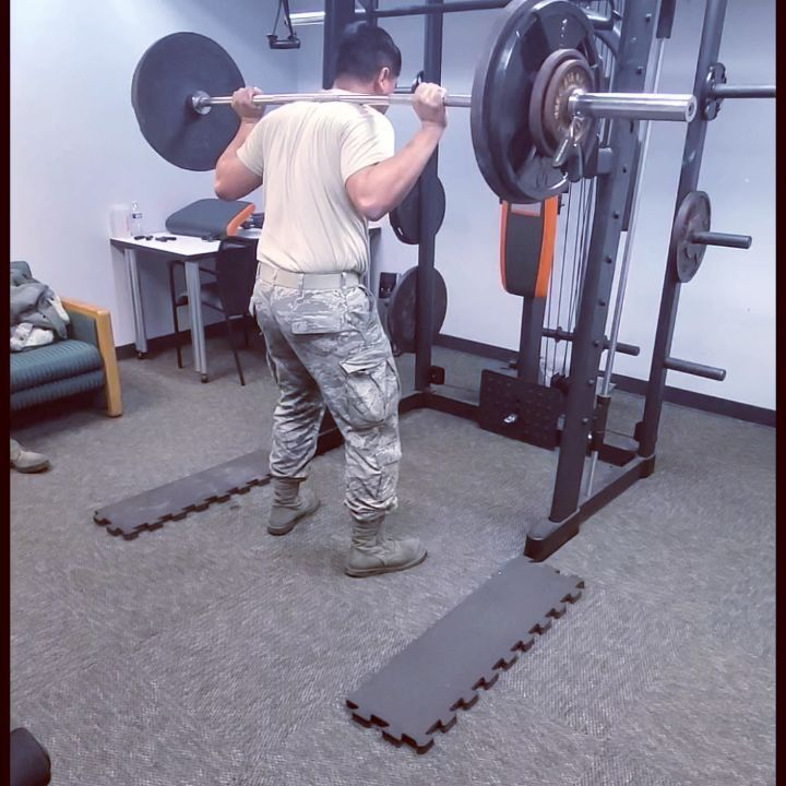 Working out during break. Set a new personal barbell squat record at 255 lbs. Honestly, I think i c