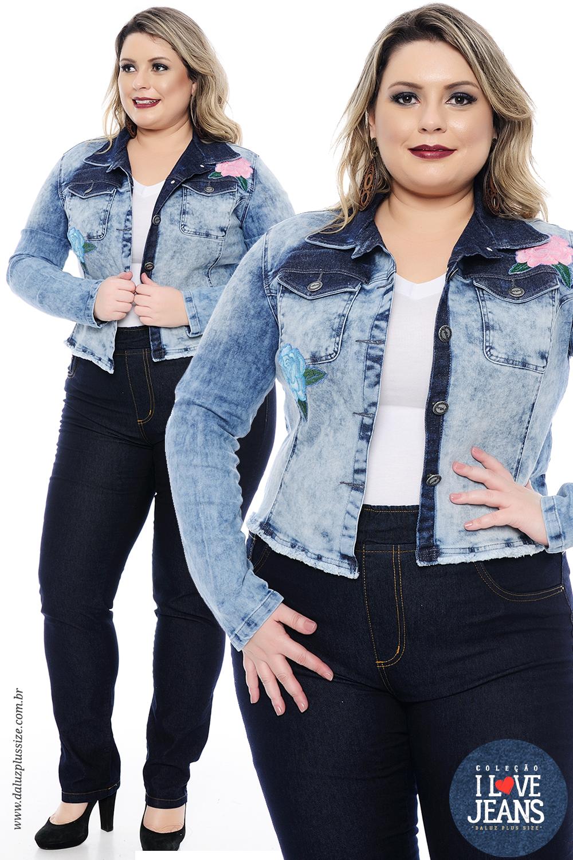Jaqueta Jeans Plus Size Michelle Coleção I Love Jeans Plus