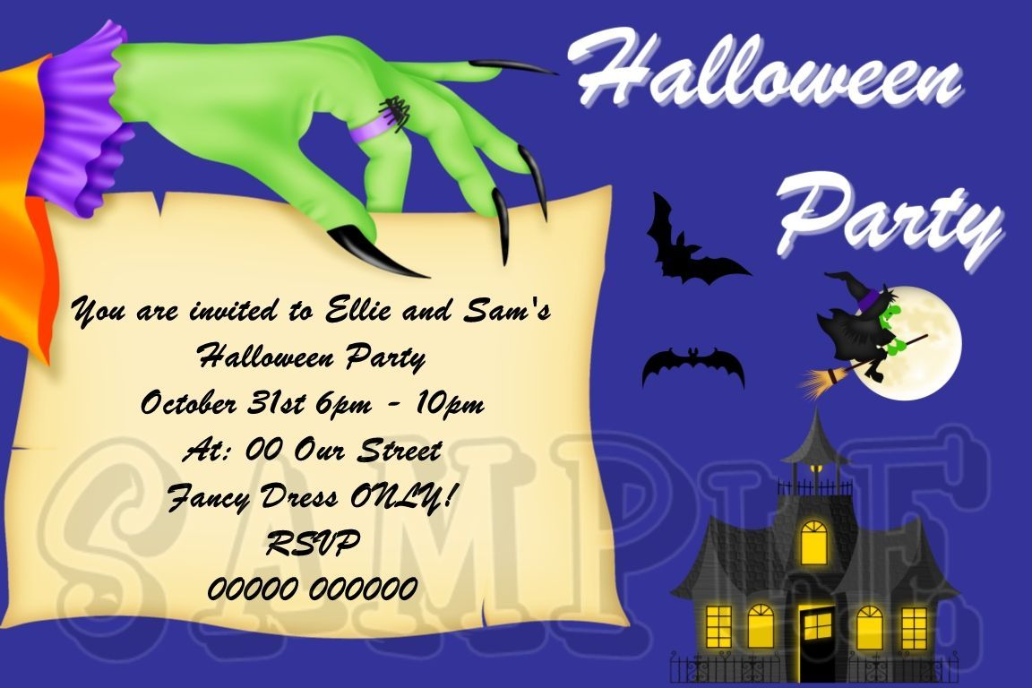 Personalised Halloween Childrens Fancy Dress Party Invitations HAL ...