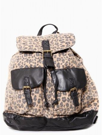 #Leopard Print Faux Leather Trim #Backpack