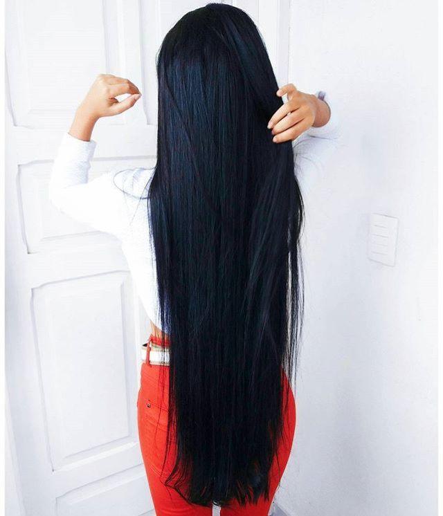 Девушки длинные черные волосы