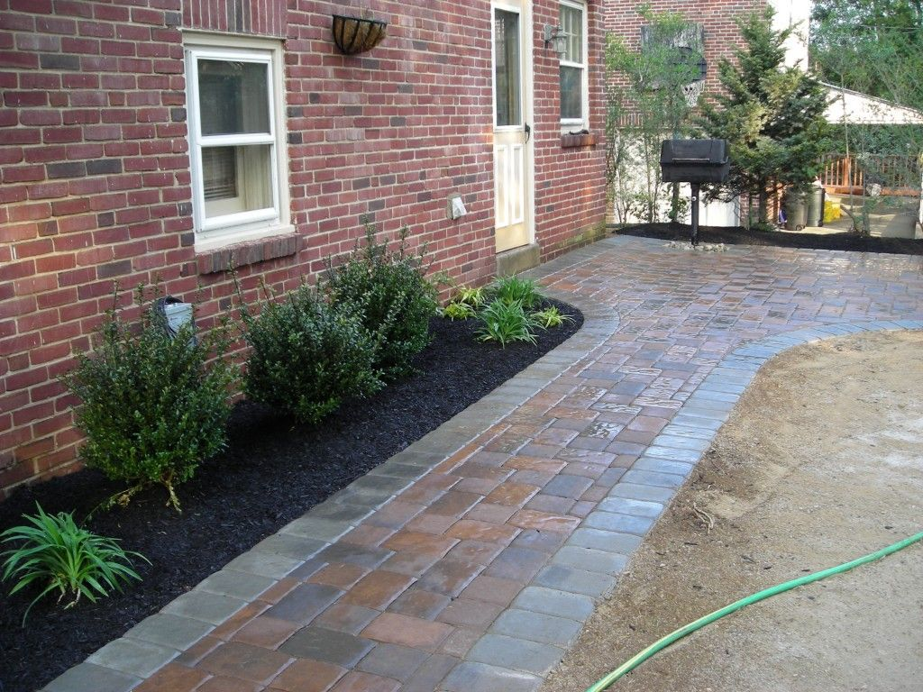 Paver walkway with landscaping paver walkway pinterest for Paved front garden designs