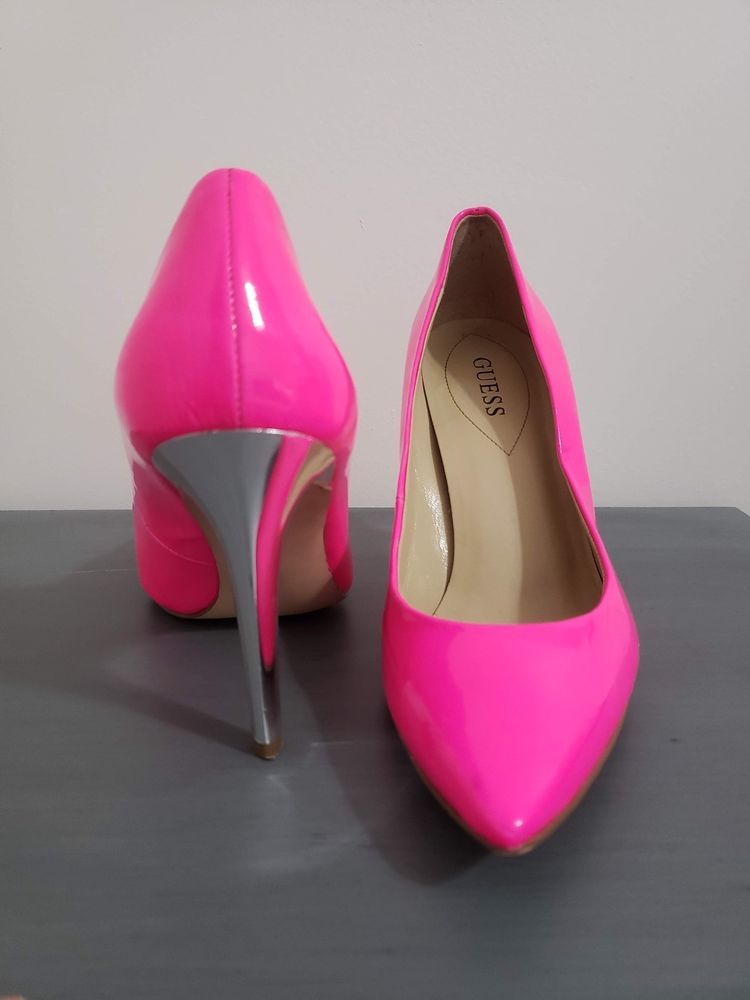 cde4639f42d NEON HOT PINK GUESS Pointy Toe Stiletto Heel Silver Spike #fashion ...
