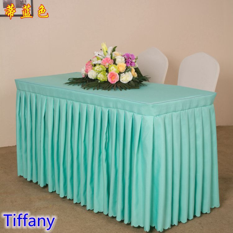 Tiffany Colour Modern Wedding Table Skirt Polyester Swag Pleated