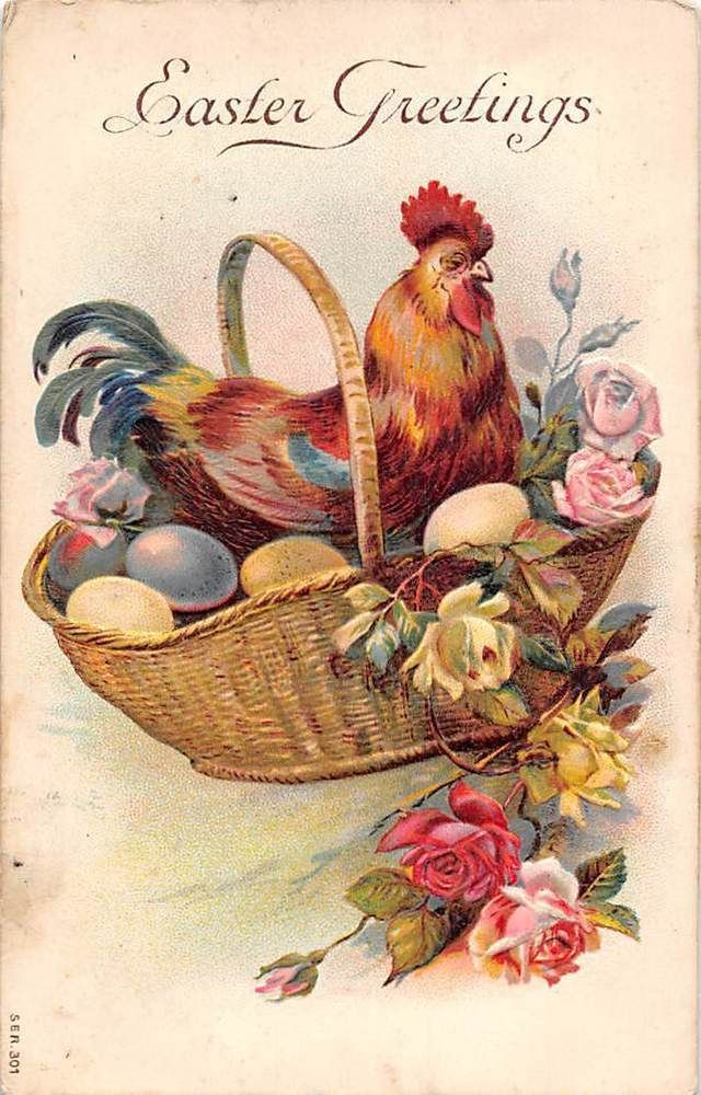 Embossed: Easter Greetings, Chicken Rooster, Eggs, Roses, Basket ...