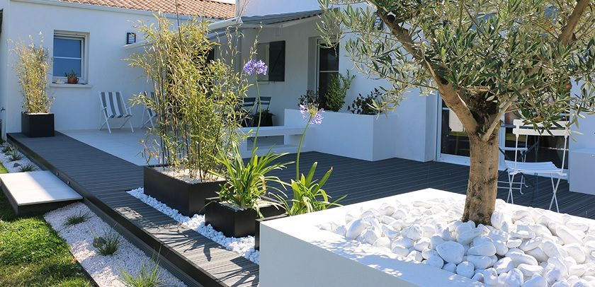 Couv terrasse contemporaine authentique jardin pinterest terrasses contemporain et style for Agencement jardin exterieur