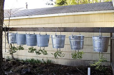 Making upside-down tomato buckets... I could be tempted to garden this way!!