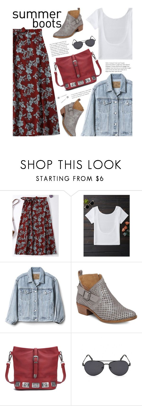 """""""Walk This Way: Summer Booties"""" by beebeely-look ❤ liked on Polyvore featuring Gap, Lucky Brand, boho, streetwear, denimjackets, Floralskirts and summerbooties"""