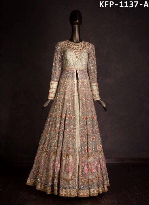 Buy Nylon Mono Net Cream Bollywood Replica Gown | Bollywood ...