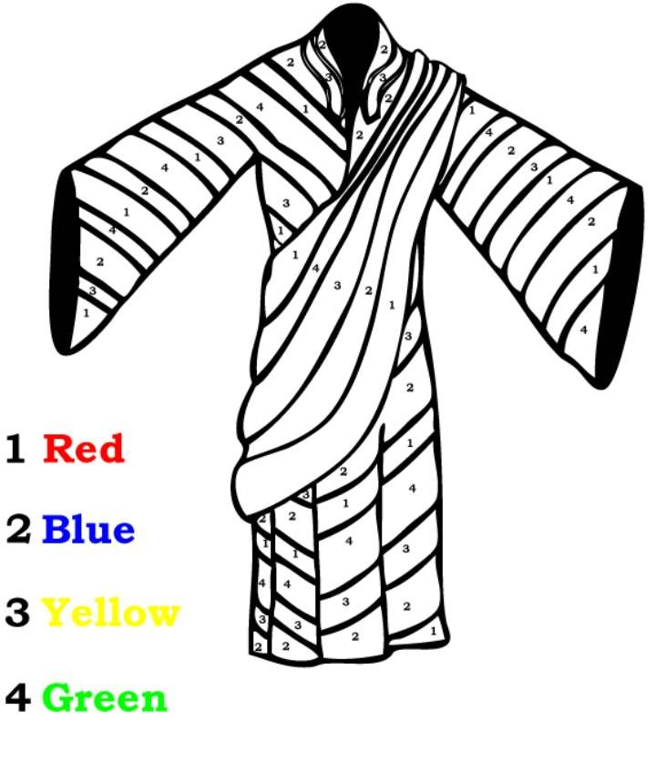 Joseph S Coat Of Many Colors Color By Number Coloring Pages Are A Great Way To End A Sunday Sc Sunday School Coloring Sheets Coat Of Many Colors Josephs Coat