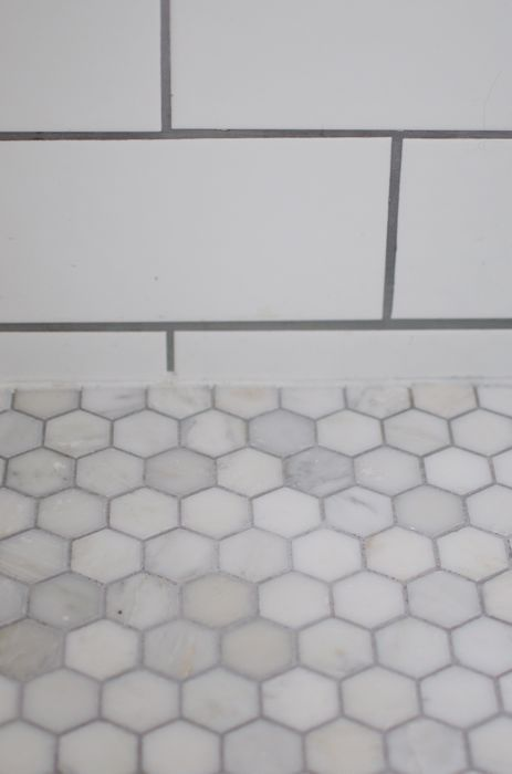 White marble hexagon tile with grout carrera marble for Marble hex tile bathroom floor