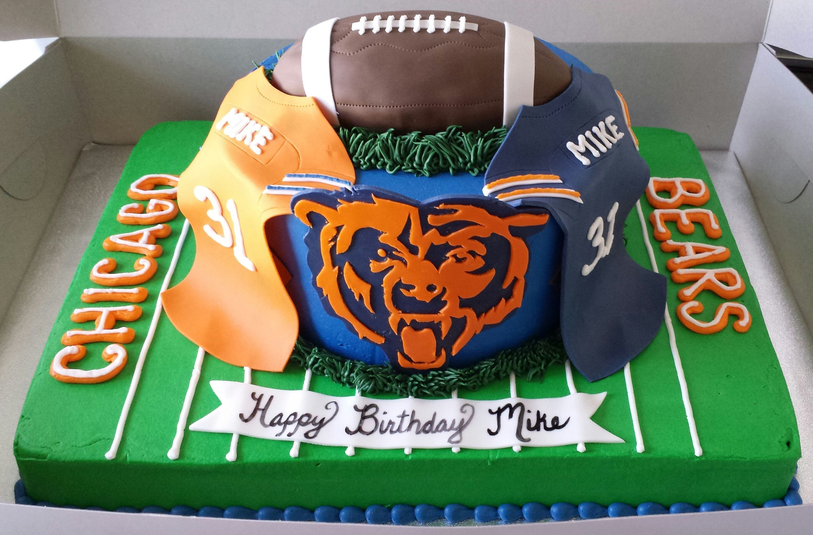 Admirable Chicago Bears Cake Chicago Bears Cake Dad Birthday Cakes Bear Funny Birthday Cards Online Fluifree Goldxyz