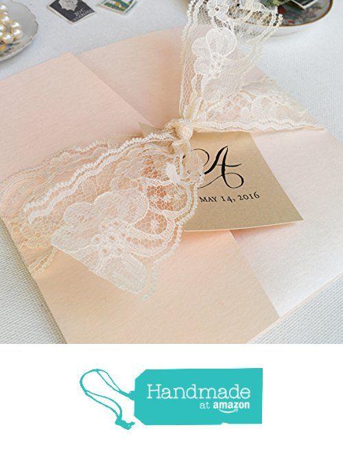 Blush and Lace Wedding Invitations - Mariya Pocketfold Suite (Set of