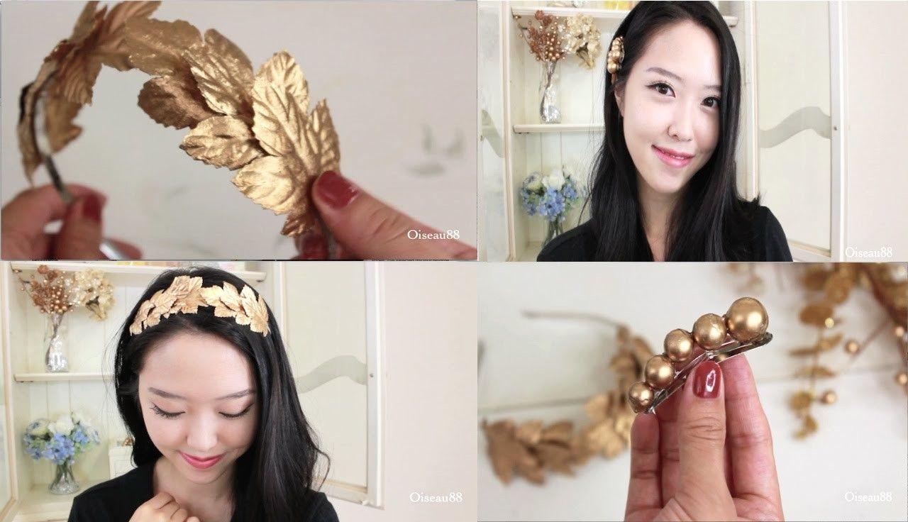 Diy hair accessories gold leaf headband and hair clips diy hair