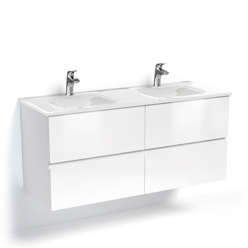 Glass3, Meuble Salle de Bain suspendu, blanc brillant, 120cm, double