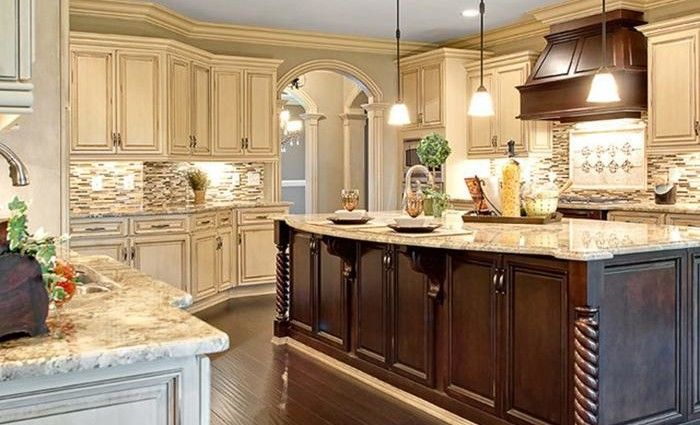 Image Of Cream Colored Distressed Kitchen Cabinets
