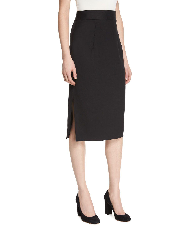 c9ce088411336b Italian Stretch-Wool Gabardine Pencil Skirt, Black - Milly | *Neiman ...