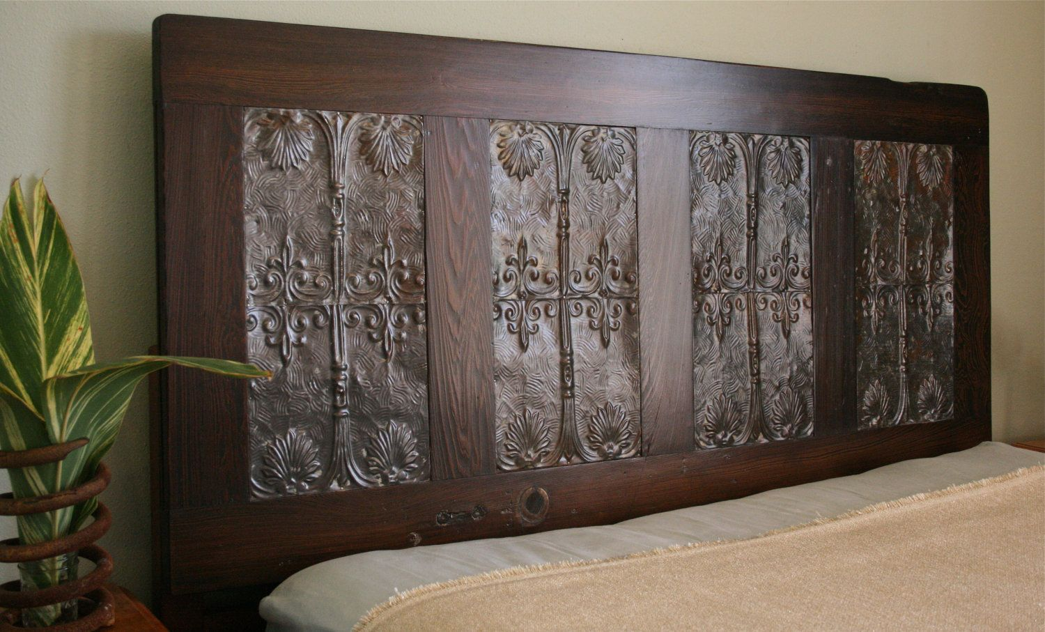 queen headboard made from reclaimed door and paired with