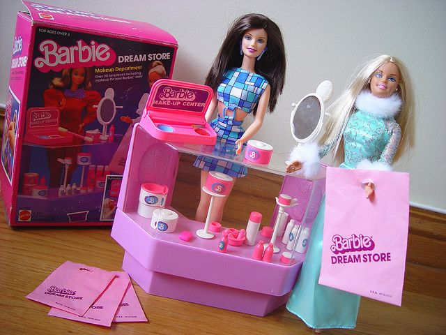 """Barbie """"Dream Store"""" Makeup Department. My brother put this together for me. He was always good at that. No wonder he became a Mechanical Engineer! He had lots of practice with my toys."""