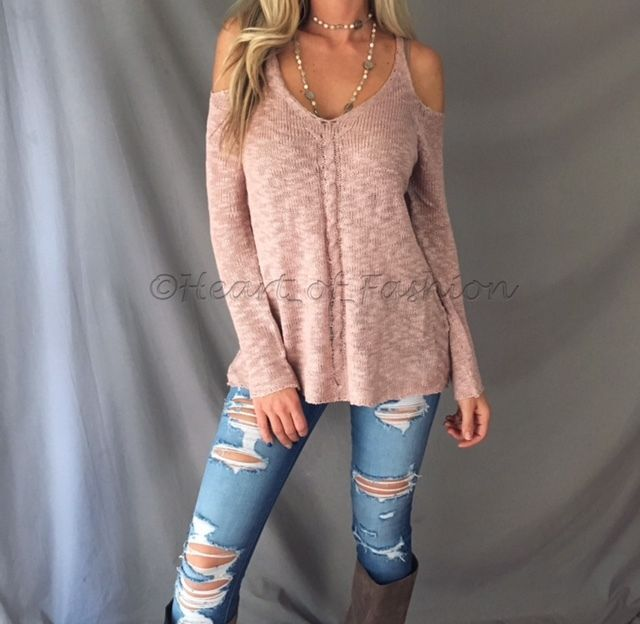 cc03d86c049 Sexy Dusty Rose Cold Shoulder Cutout Long Sleeve Knit Loose Relaxed Sweater  Top