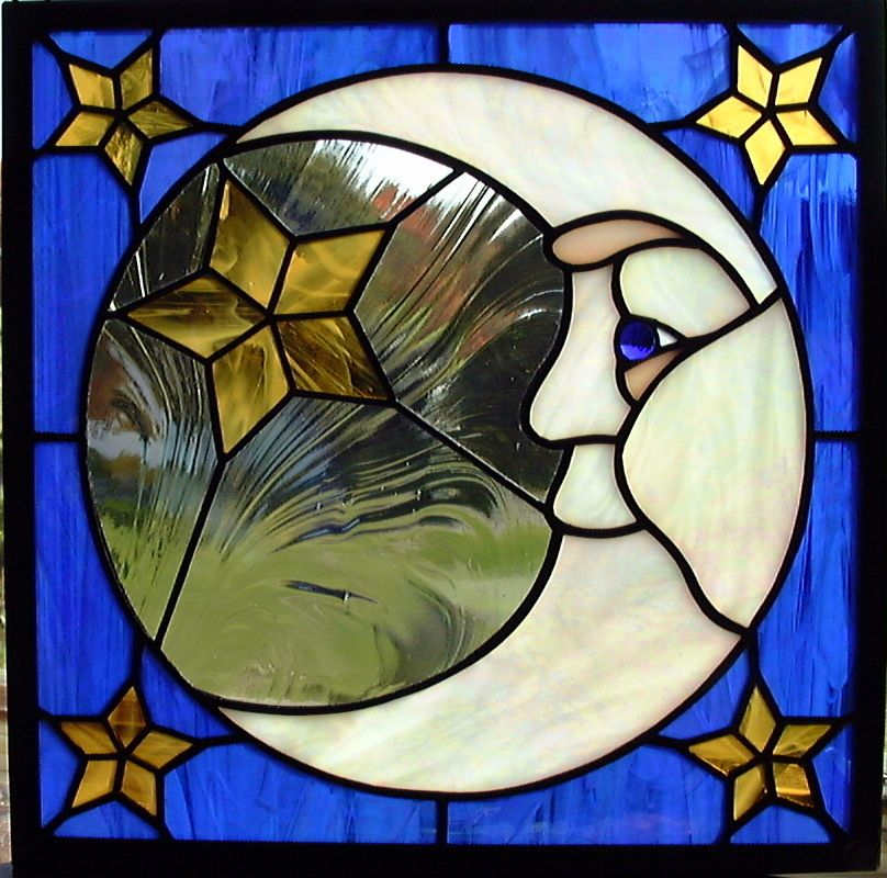 Man in the Moon Stained Glass Window Moon, Glass and Stained glass