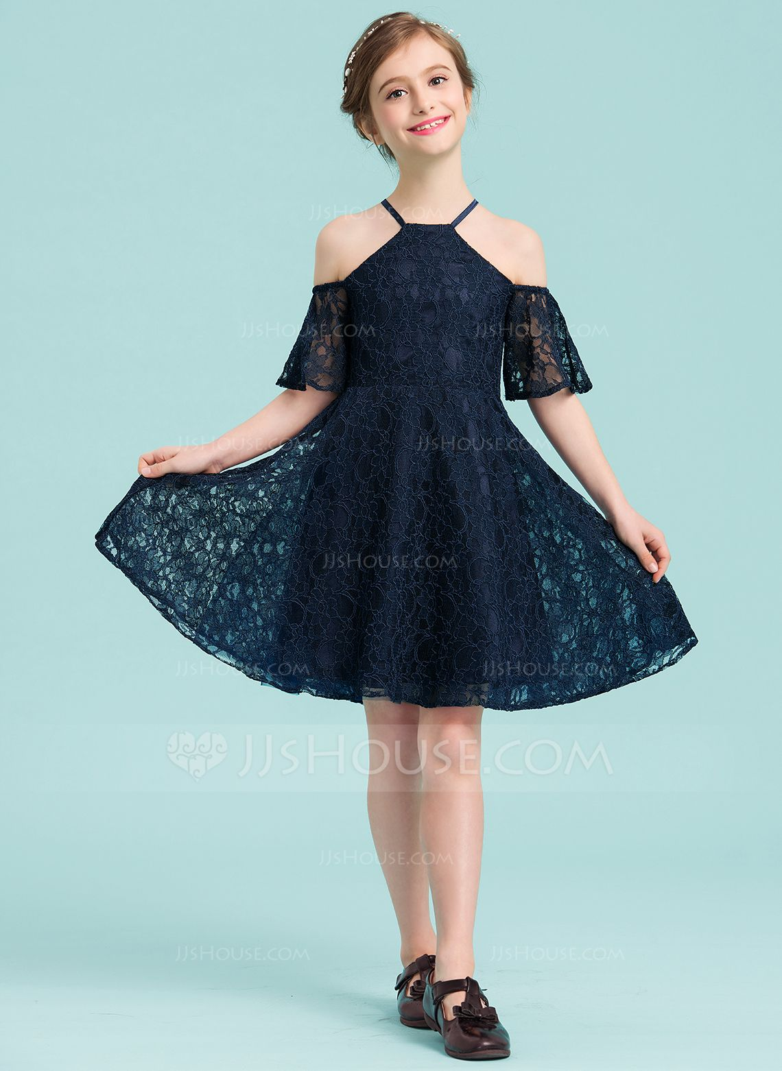 b581e937d3c Navy Lace Junior Bridesmaid Dresses