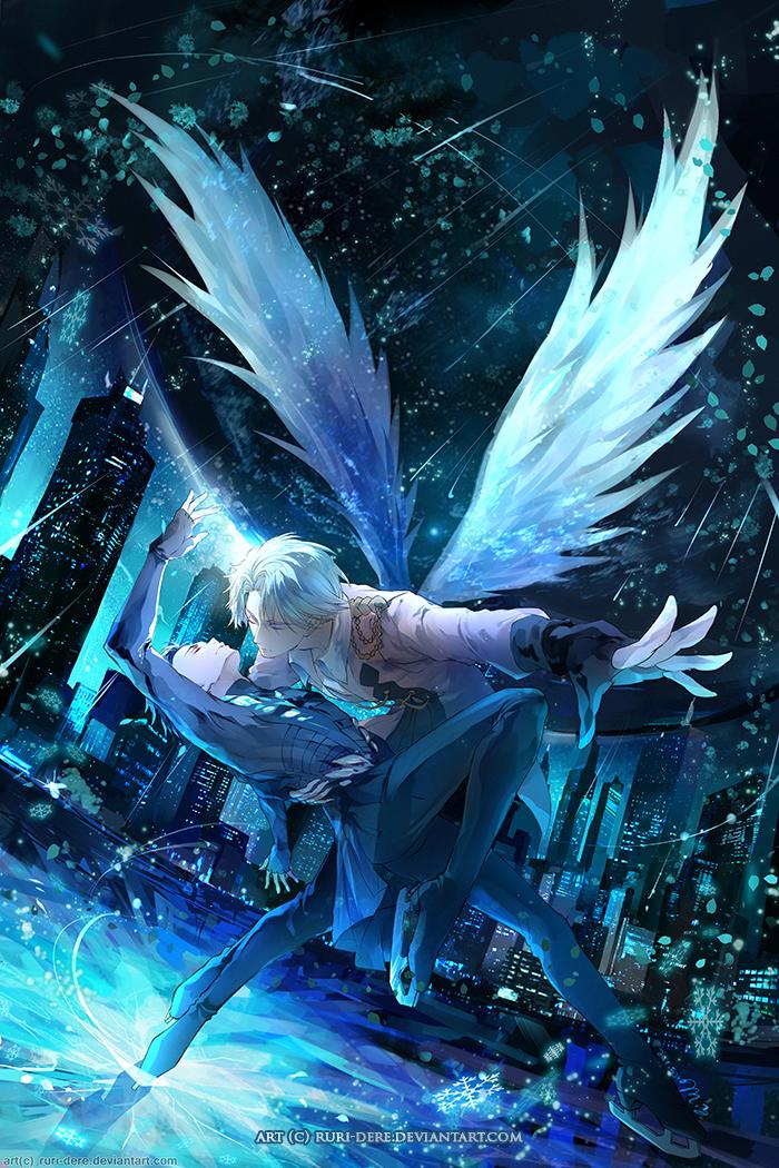 Yuri!!!On Ice poster Viktor Yuuri anime art fan art Poster12x18'' Glossy from Dakimakuras+Anime Art_(:з」∠)