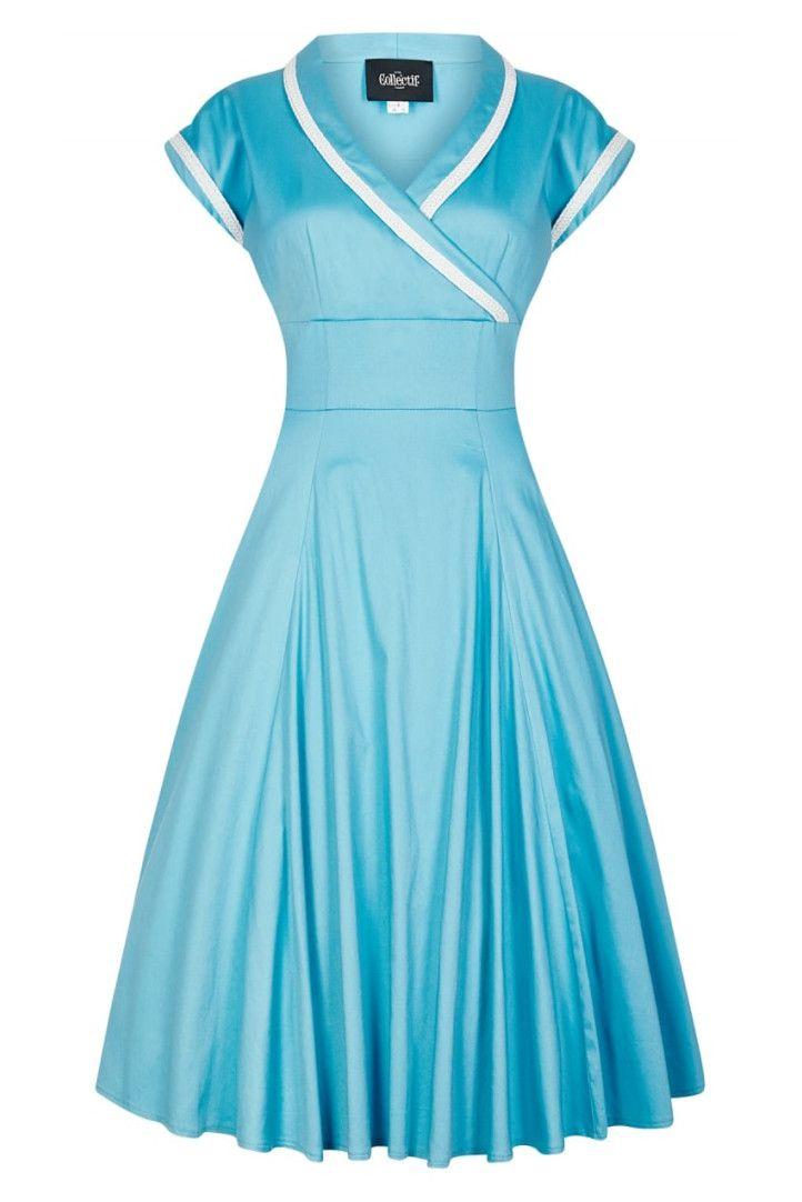 068aa7eb844b Collectif Yoshima Swing Dress Blue white sailor look light blue licht blauw  wit 1950s vintage retro look