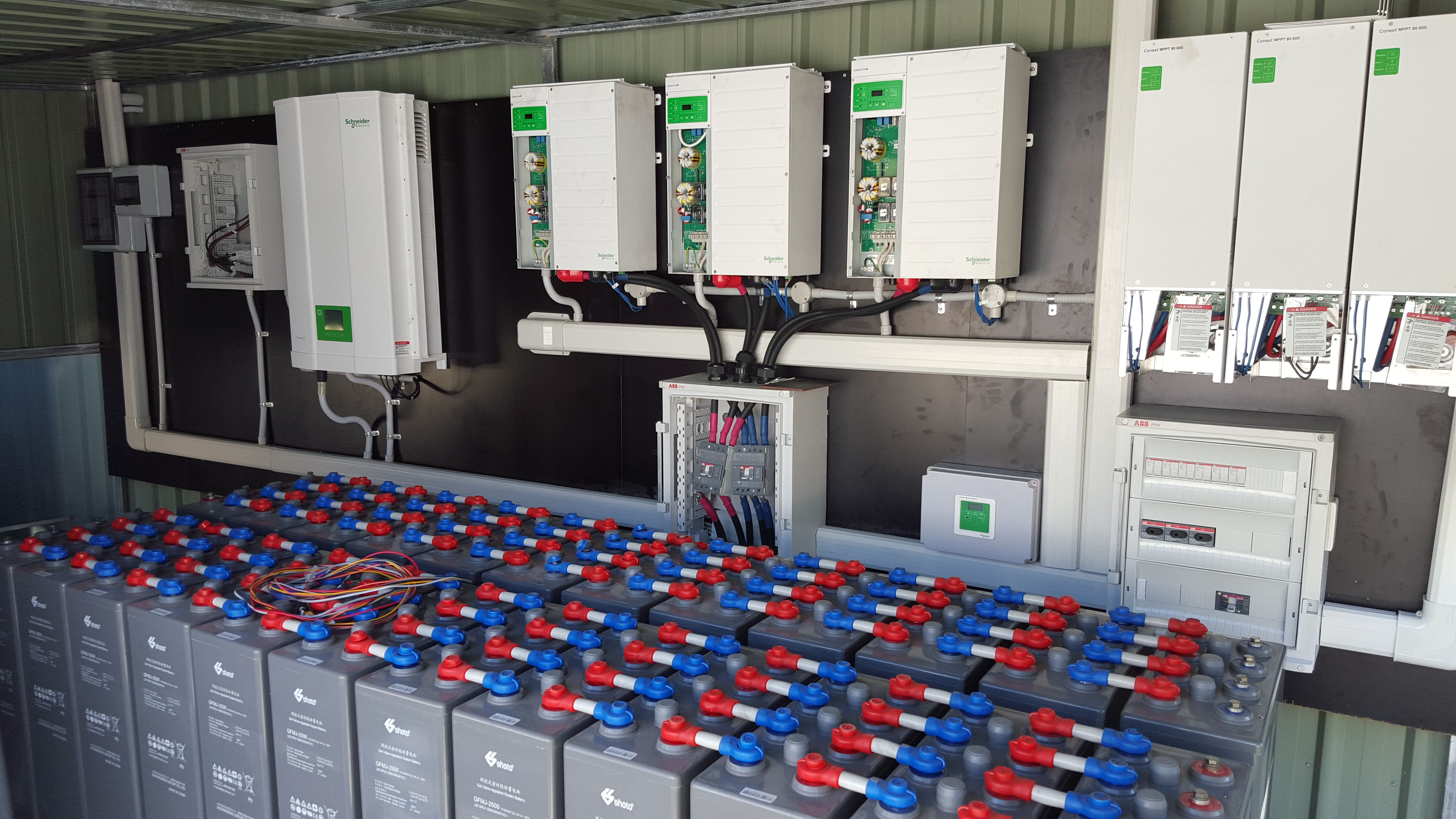 3 Phase Hybrid System With 48v 2500ah Battery Bank The System Has 20kw Of Normal Pv And Another 18kw Going Battery Bank Off Grid Batteries Solar Panel System