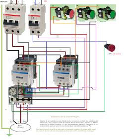 Inversor De Giro De Un Motor Trifasico Pasando Por Paro Proyectos Eléctricos Motor Trifasico Esquemas Electricos