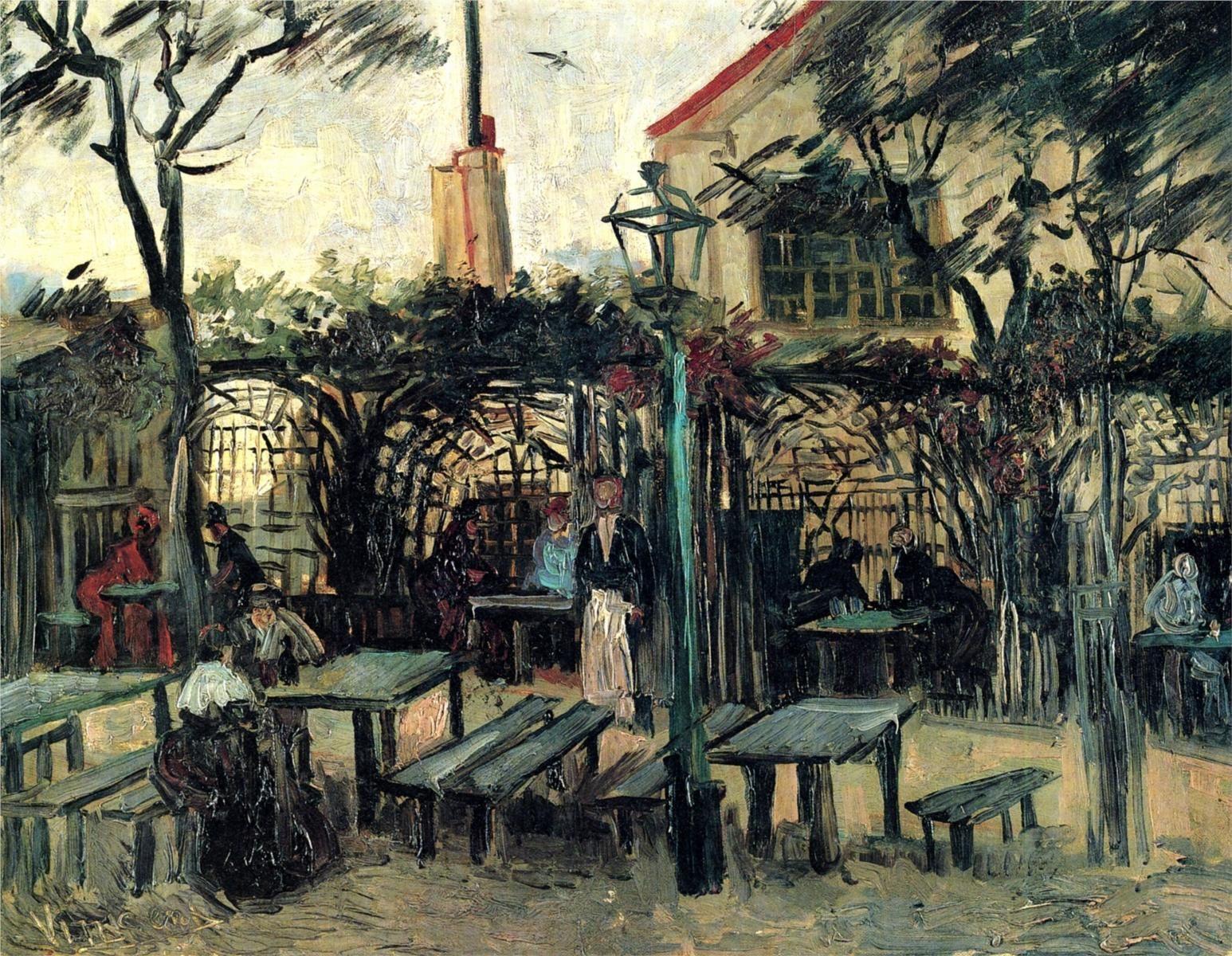 """Terrace of a Cafe on Montmartre """"La Guinguette"""", 1886-Vincent van Gogh -"""
