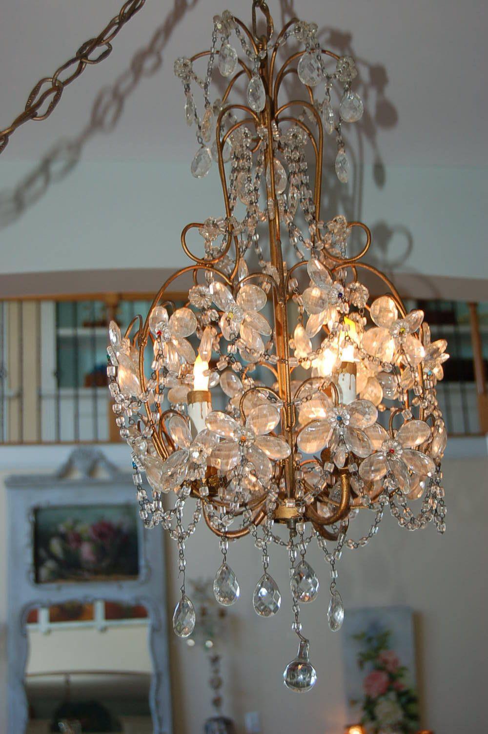 Best Antique Vtg Macaroni Beaded Crystal Chandelier Flower Prism Italian French