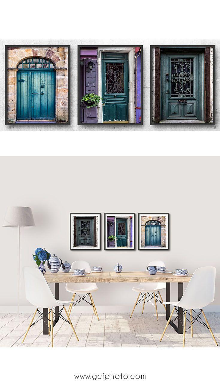 France photography doors set gorgeous teal blue wall print decor