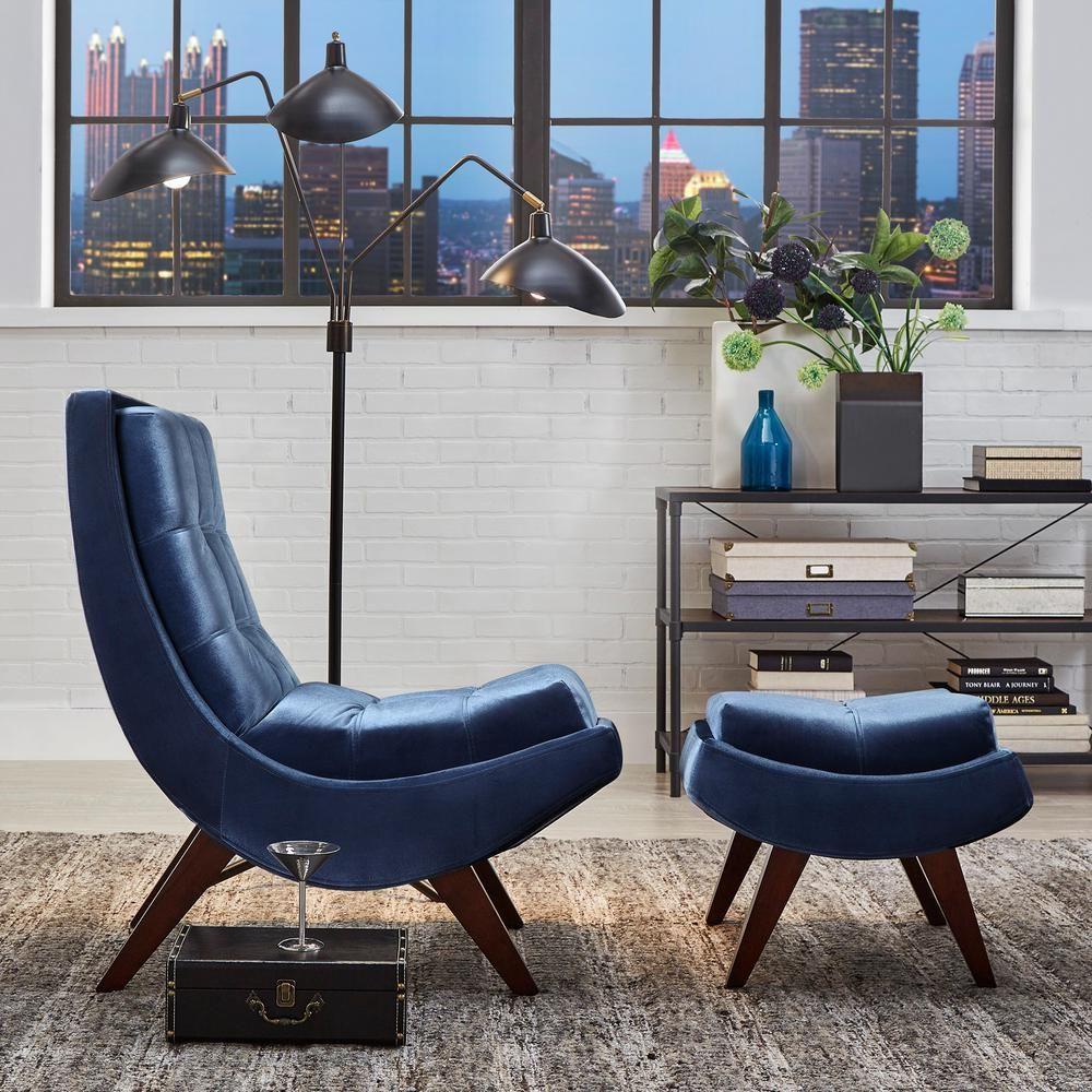 HomeSullivan Blue Velvet Chair with Ottoman 40876S351S(3A