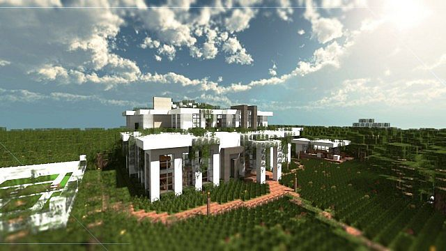 Large modern minecraft mansion villa minecraft house - Minecraft villa ...