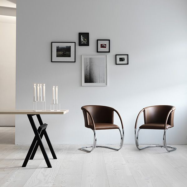White Kubus 4 And White Line Ml33 In Cognac Leather Stoelen