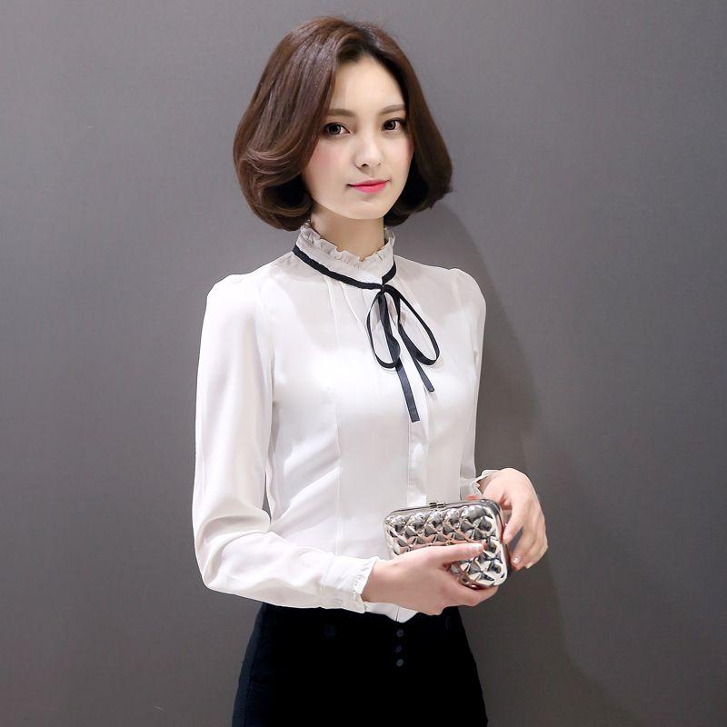 white shirt with ruffled collar | 2016 New Fashion Long Sleeve ...