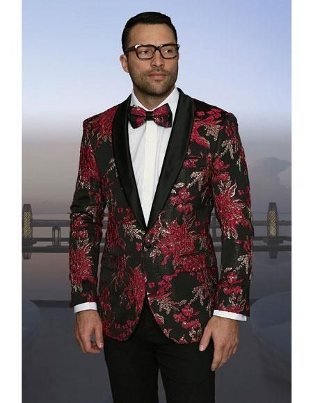 Sku Ch493 Mens Red Gold Black Pink Fuchsia Lapel