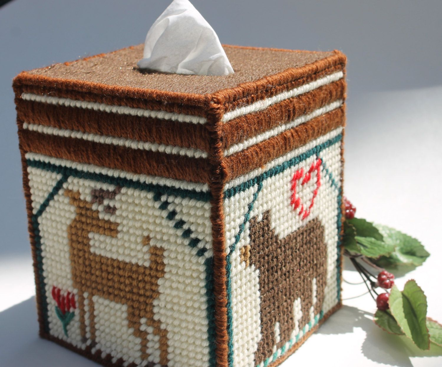 Tissue Box Cover Or Bank Cabin With Deer And Bear Yarn Worked On