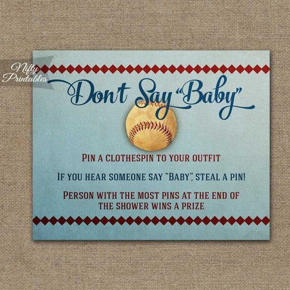 Dont Say Baby Game - Baseball Baby Shower Decorations - Printable Baseball Baby Shower Games - Spor - #- #baby #Baseball #Decorations #Dont #game #games #Printable #say #Shower #Spor