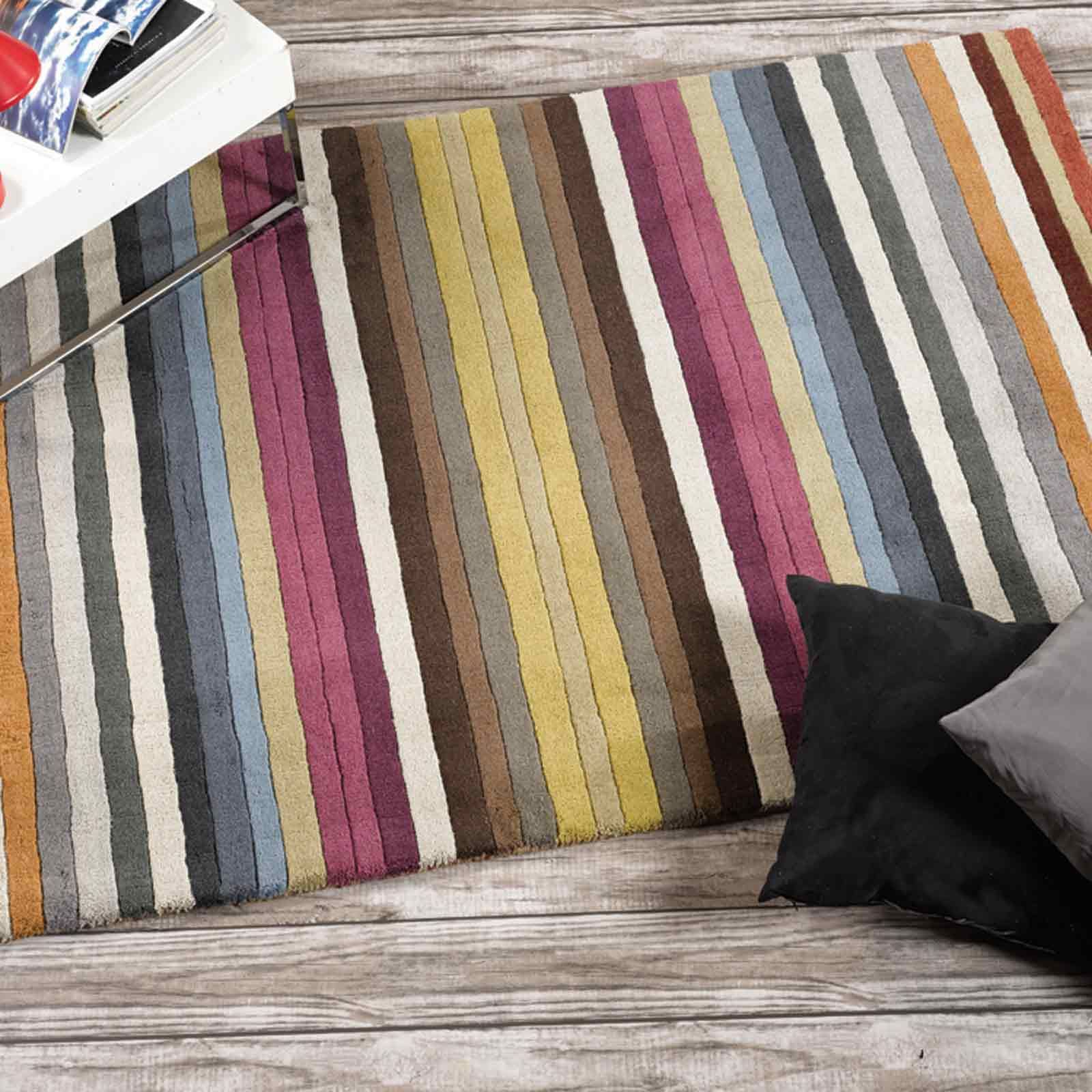 Multi Coloured Striped Rug Uniquely Modern Rugs